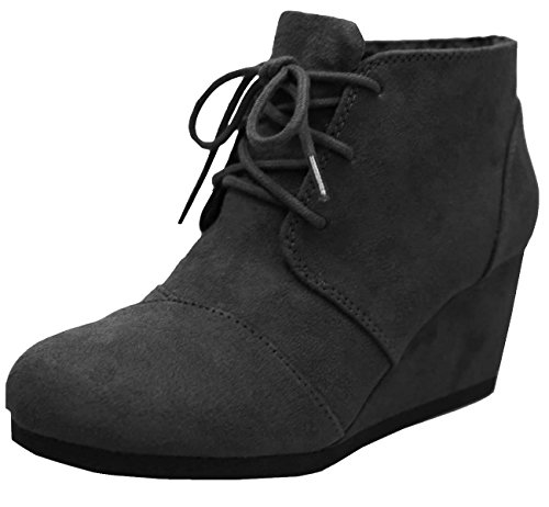 Cambridge Select Women's Lace Up Wedge Heel Ankle Bootie (8.5 B(M) US, Black -