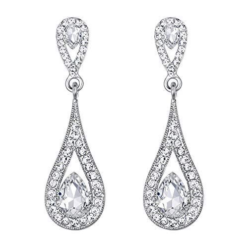(EVER FAITH Women's Crystal Elegant Wedding Bride Dual Teardrop Dangle Pierced Earrings Clear)