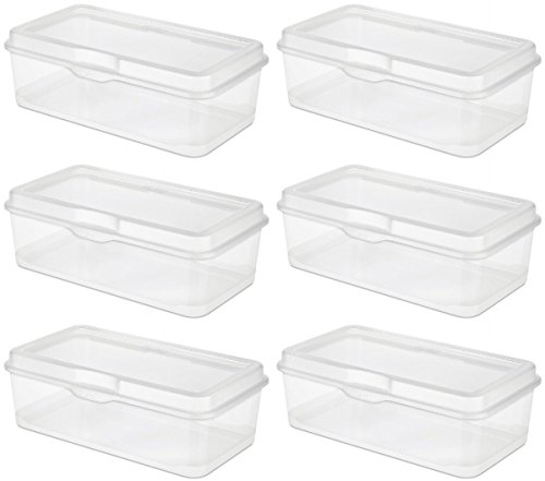 STERILITE 18058606 Large Flip Top, Clear, 6-Pack by STERILITE