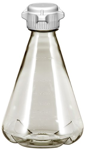 Plastic Erlenmeyer Flasks for Cell Culture and Fermentation, 2L, Autoclavable Polycarbonate (PC), 53mm (53B) VersaCap, Non-Sterile, Baffled Bottom (Pack of 6) ()