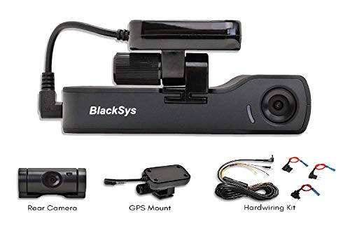 BlackSys CH-200 2 Channel Dash cam with 1920 x 1080p Full HD, Night Vision, GPS Mount, 16GB SD Card, Hardwiring Kit for Parking Mode