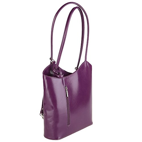 Genuine Bag Chicca Cm Leather in Italy in Purple Woman Borse Shoulder Made 28x30x9 OqA1RaXA