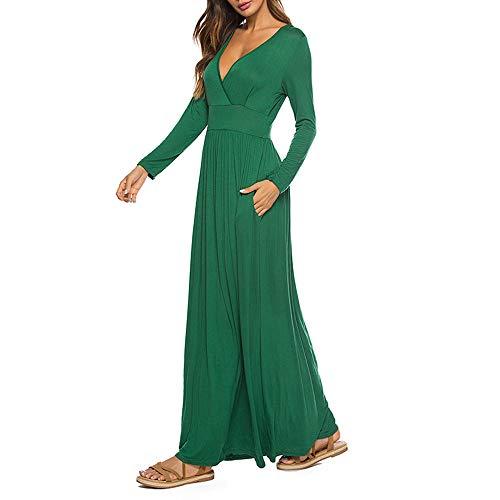 Clearance En Sexy Casual Fiesta Larga Manga Para Slim Sólido Mujer De Cuello Largo Vestido Green Tanque V Maxi Sonnena Con Summer TOqrwTP