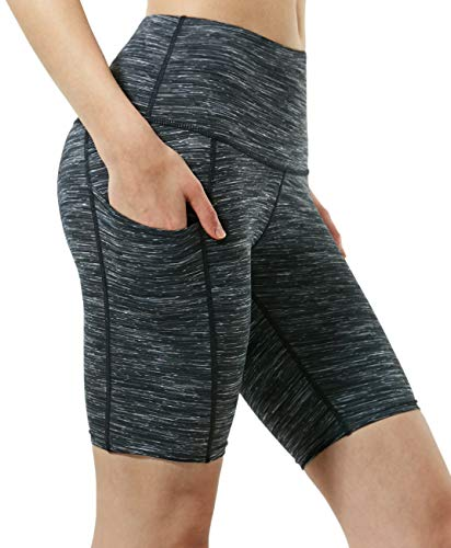 TSLA Women's (Pack of 1) Active Bike Running Yoga Shorts Side/Hidden Pocket Series, Pocket Thick 8in(fys15) - Charcoal, Small (Size 6-8_Hip37-39 Inch) ()