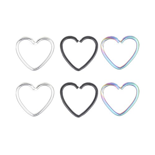 Women's Body Jewelry 20G Stainless Steel Heart Star Clip on Closure Ring Fake Nose Lip Tragus Cartilage Earring Piercing Jewelry 6pcs