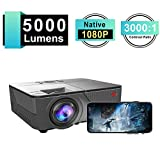 SeoJack 3rd Home Projector with 5000 Lux and 30,000 Hour Lamp Life,Video Projector FHD 1080P and Max.200'' Display Supported, Compatible with HDMI/VGA/AV/ USB for Home Theater for iPhone &Android
