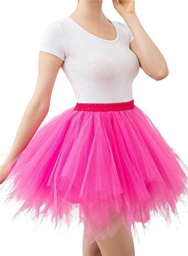 Imixcity Donna Retro Annata di 50 Anno Tutu Gonna Balletto di Danza Principessa Sottogonna per il Partito di Prom in 4 Strati Organza Tulle Rosa Rossa