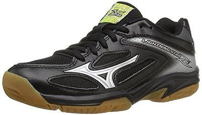 Mizuno Unisex-Kids Lightning Star Z3 Junior Youth Volleyball Shoe, Black/Silver, 2 2A US Big Kid (Shoes Volleyball Junior)