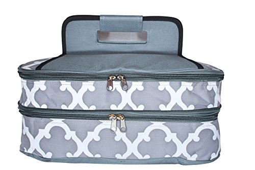 Insulated Casserole Carrier - Expandable, Double Capacity Tote Holds 11 x 15 Hot and Cold Dishes (Grey Moroccan)