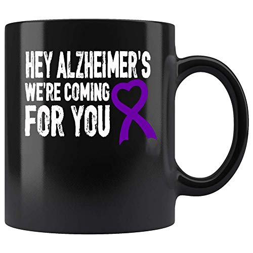 Coffee Mug Alzheimer's Awareness Support Fight Purple Ribbon Coffee Mug Ceramic (Black, 11 OZ)