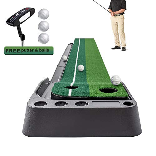 MLBP Golf Putting Mat Indoor Putting Green with Ball Return