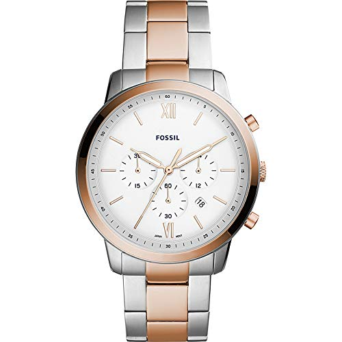 Fossil Men's 'Neutra Chrono' Quartz and Stainless-Steel-Plated Casual Watch, Color:Rose Gold-Toned (Model: - White Fossil Rose Gold And Watch