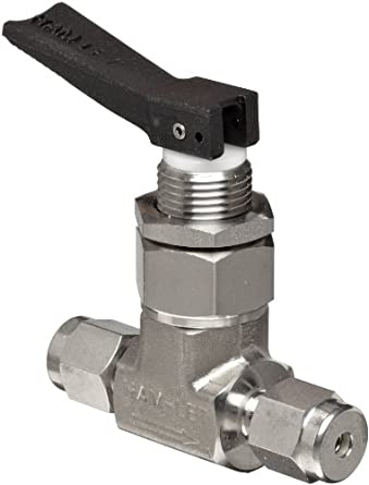 """Ham-Let H1200 Series  Stainless Steel 316 Toggle Valve, Inline, 1/8"""" Let-Lok Fitting"""