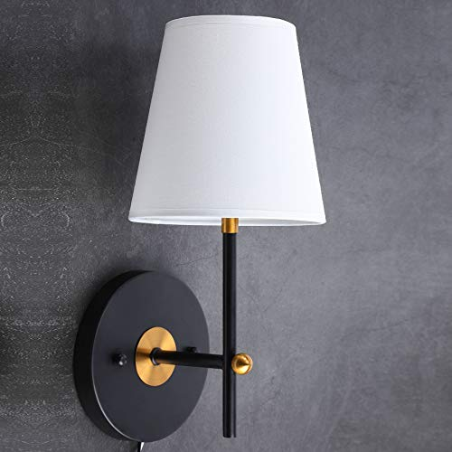 CO-Z 1-Light Wall Sconce Lighting with White Fabric Shade, Wall Mount Vanity Lamp in Black Finish, Wall Sconce Light Fixture for Bathroom Bedroom Stair Cafe. (Black)