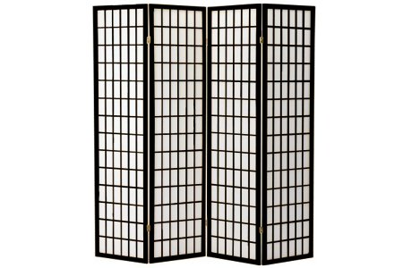 anel Wooden Screen, Cherry Finish (Black, 4 panel) (Panel Cherry Finish Wooden Screen)