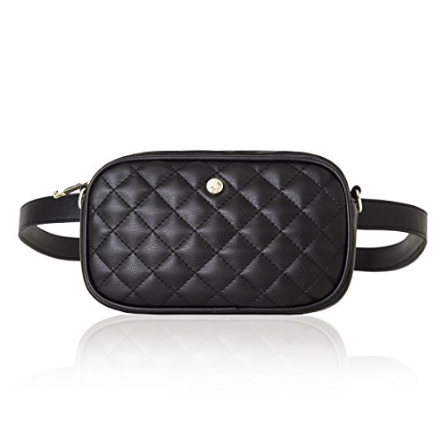 The Lovely Tote Co. Women's 2-way Fanny Pack Small Quilting Crossbody Bag,Black