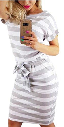 Jaycargogo Des Femmes De Bande Moulante Manches Courtes Robe De Midi Gris De Ceinture