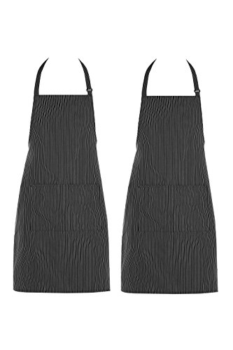 Chama 65%Polyester 35%Cotton Black Pinstripes Adjustable Neck Strap Long Tie 2 Pockets Bib Apron For Men,Women Chef Baker Cooking Craft Garden Half Aprons for Servers --2 Pack (Black (Stripe Chefs Apron)