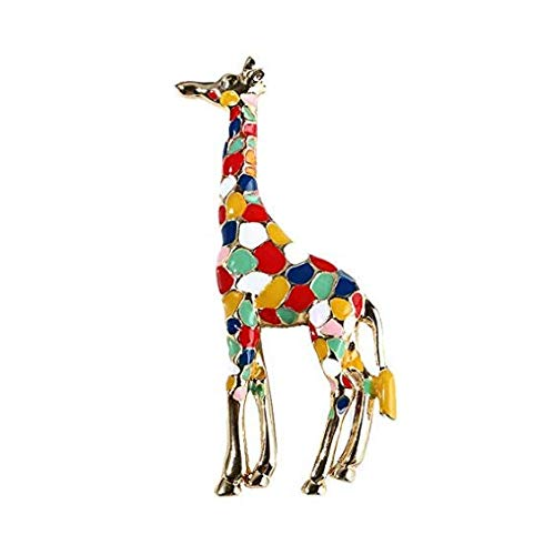 Guoainn Fashion Beautiful and Lovely Jewelry Giraffe Colorful Enamel Brooch Pin Collar Badge Clothes Jewelry Decor
