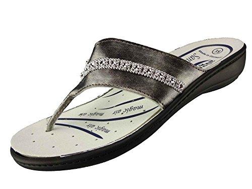 Algemare Sandale Zehentrenner waschbares Sani-pur Wechsel Fußbett Magic Air 3481_9943, Größe:41