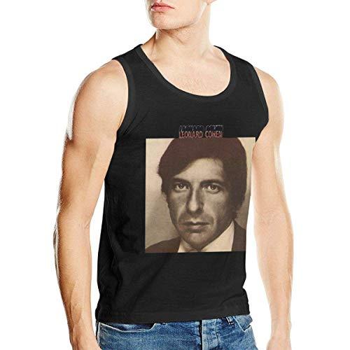 UUKI Man's Leonard Cohen Cool Summer Cotton Music Band Fans Sleeveless Top Tshirts Black