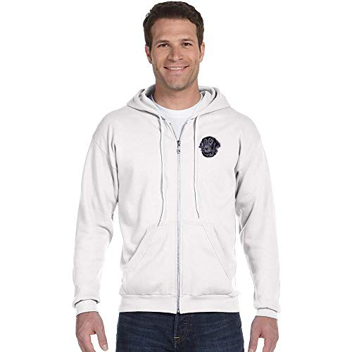 Cherrybrook Breed Embroidered Anvil Full Zip Menss Hoodie - X-Large - White - Flat Coated ()