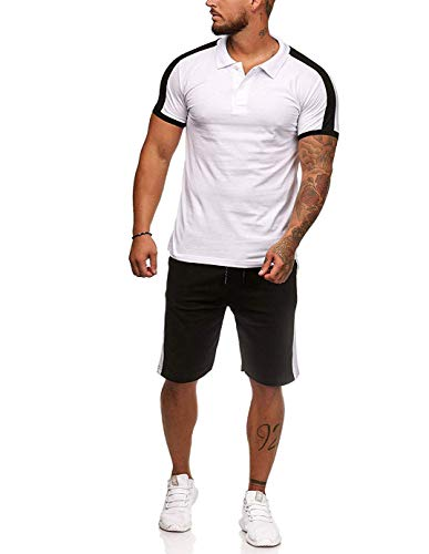 Men's 2 Piece Outfit Sport Shorts Set Casual Short Sleeve Tops + Short Pants Tracksuit (XL, Polo White)