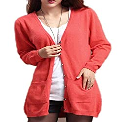 Molif Women Spring Autumn Long Cardigan Cashmere Material Loose Sweater Outerwear Coat With Pockets Watermelon Red L