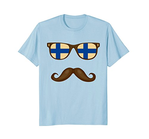 Mens Finnish Flag Sunglasses Moustache T-shirt Great Gift Tee XL Baby - Glasses Finnish