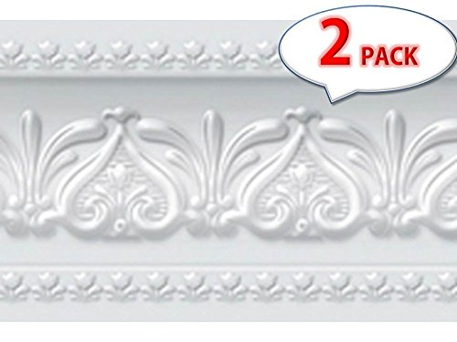 ([Pack of 2] Royal Tulip Peel and Stick Wall Border Easy to Apply (Neutral Gray))