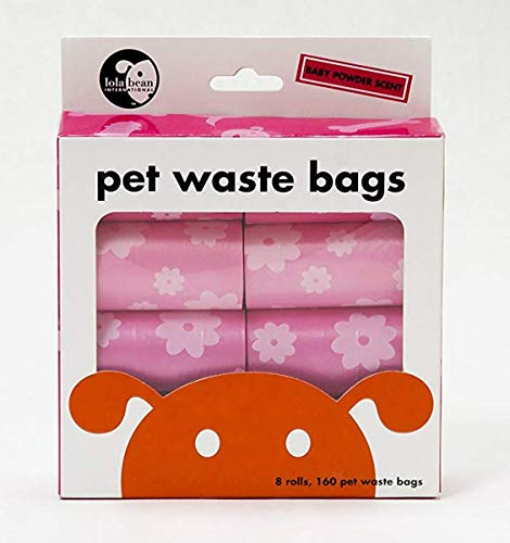 Waste Pick Up Bags - 8 Refills Rolls - 160ct PINK Bags - Pet Bag Bean Small