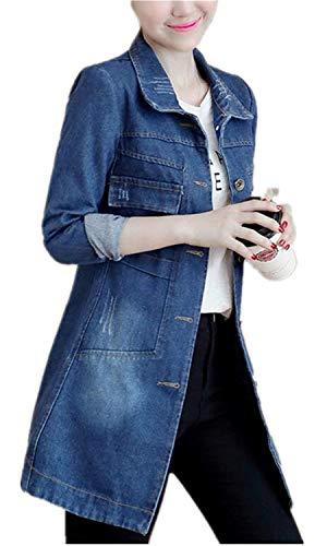 Dunkelblau Estilo Giacche Manica Bavero Fit Donna Button Moda Anteriori Lunga Cappotti Di Slim Invernali Strappato Giovane Especial Tasche Outwear Jeans 6qSxSdvH