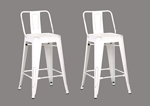 Cheap AC Pacific Low Back Indoor and Outdoor Metal Chair Barstool (White) 24-Inch Set of 2