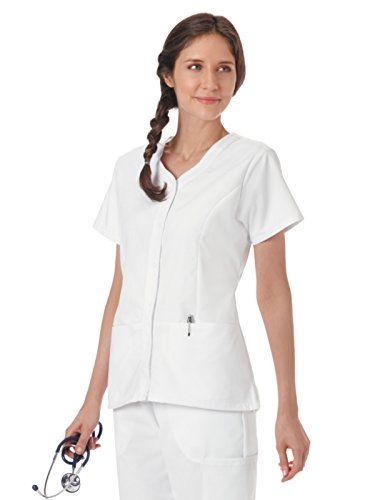 Fundamentals 14560 Women's Snap Front Scrub Top White L