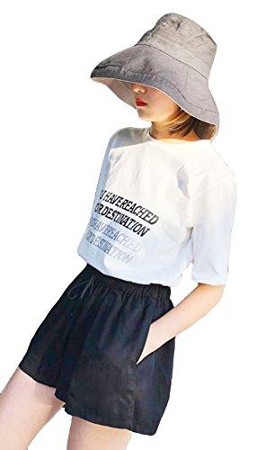 転用考慮工業用(ニカ) レディース ショートパンツ 夏 カジュアル ワイドパンツ 無地 半パンツ ウエストゴム ショーパン ファッション ガウチョパンツ ゆったり キュロットスカート 綿 黒 無地 ハーフパンツ ストラップ 可愛い 韓国