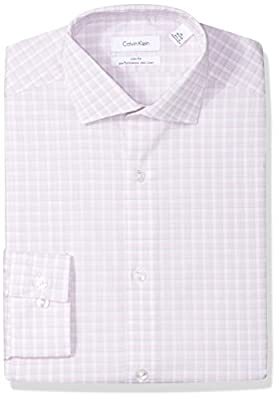 Calvin Klein Men's Dress Shirts Non Iron Slim Fit Stretch Multi Check