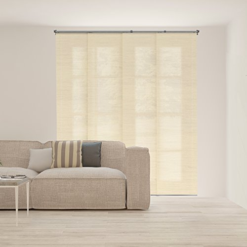 Chicology Adjustable Sliding Panels, Cut to Length Vertical Blinds, Abaca Alabaster (Natural Woven) - Up to 80