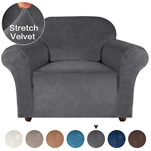 Turquoize Stretch Sofa Slipcover Armchair Slipcover Velvet Chair Cover for Living Room Strapless Sofa Protector Gray Couch Cover for Dogs Slip Resistant Furniture Cover/Protector (Chair - Gray)