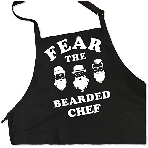 ApronMen Fear The Bearded Chef Apron -Fun BBQ Apron- 1 Size Fits All Adjustable - Fun Bbq Apron