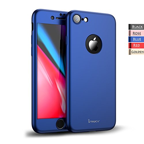 Rebex iPhone 8 Case iPaky 360 All-Around Protective Cover Thin Slim Fit [Non-Slip] Dual Layer Hard Case with Tempered Glass Screen Protector for iPhone 8 (Blue)