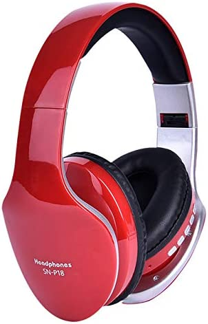 RONSHIN for Wireless Headphones Bluetooth Headset Foldable Stereo Headphone Gaming Earphones Support TF Card with Mic for PC All Phone Mp3 red
