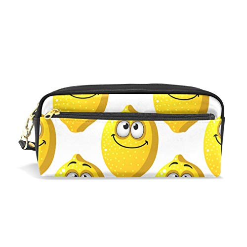 Pencil Case Cartoon Yellow Lemons Smiling with Googly Eyes Large Capacity Pen Bag Stationery Pouch Stationary Case Makeup Cosmetic Bag]()