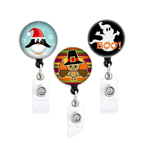 Holiday Trio - Halloween Ghost/Christmas Penguin/Thanksgiving Turkey Set of 3 - Retractable Badge Reel with Swivel Clip and Extra-Long 34 inch Cord - Badge Holder -