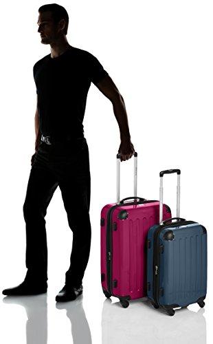 HAUPTSTADTKOFFER - Alex - 2er Koffer-Set Hartschale glänzend, TSA, 65 cm + 55 cm, 74 Liter + 42 Liter, Graphit-Gelb Magenta-waldgrün