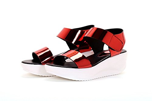 AllhqFashion Mujeres Puntera Abierta Plataforma Charol Sólido Velcro Sandalia Rojo