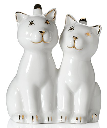 Cat Ring Holder, Two White Cats with REAL 24K GOLD Plating Ceramic Engagement and Wedding Ring Holder