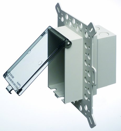 Arlington DBVM1C-1 Low Profile IN BOX Electrical Box with Weatherproof Cover for New Construction Stucco/Textured Surfaces/Rigid Siding, Vertical, 1-Gang, Clear by Arlington Industries