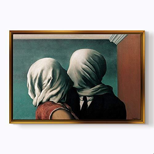 Modern Tablo - Lovers - Rene Magritte (70x100cm (28''x40''), ()