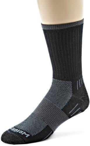 (Wrightsock Men's Escape Crew Single Pair Socks, Black, Large)
