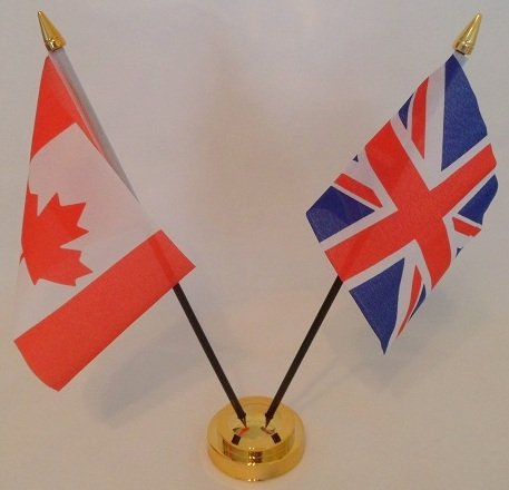 Canada Canadian Union Jack 2 Flag Friendship Table Display With Gold Base